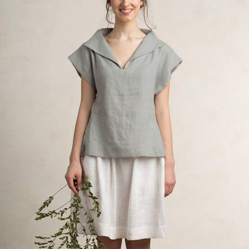 Celmia Women Vintage Linen Tops Plus Size Blouses 19 Summer V Neck Short Sleeve Shirts Casual Tunic Female Blusas Femininas 6