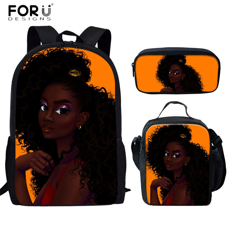 FORUDESIGNS Afro Lady Girl Africa Women School Bags Fashion Teenagers 3pcs/set Schoolbags Bagpack Functional Backpacks Mochilas