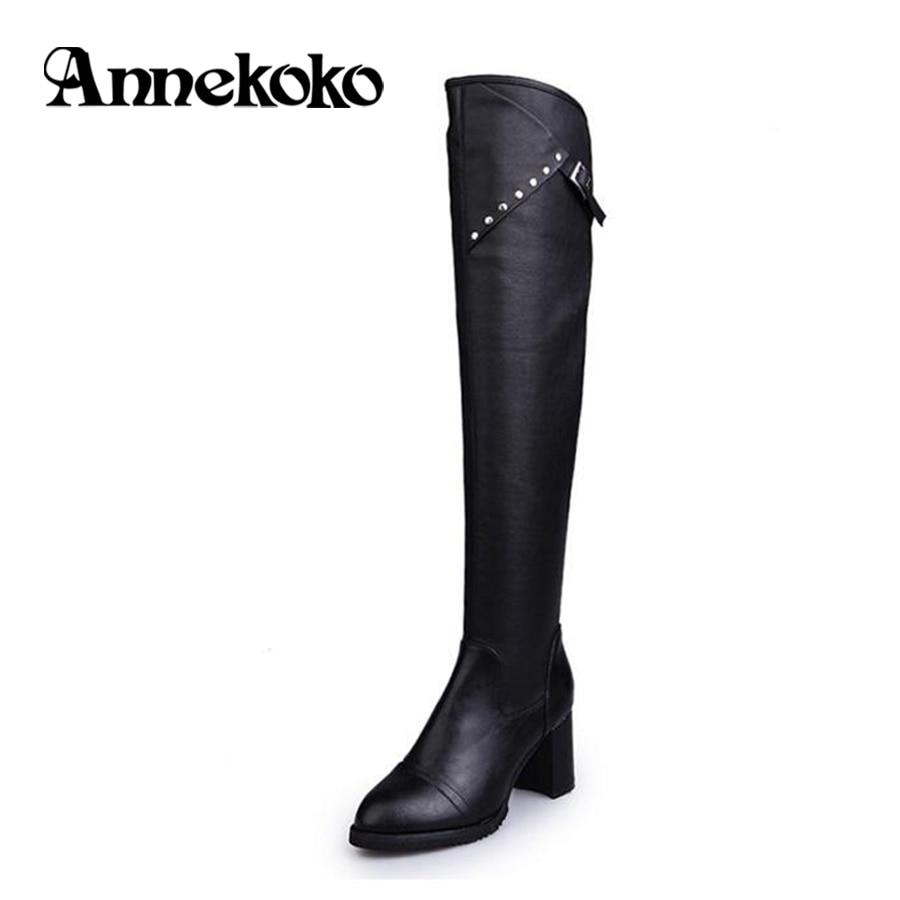 ФОТО Annekoko Fashion Black Elegant 2017 Autumn And Winter PU Women Shoes High Heels Over the Knee Long Boots Women Motorcycle Boots