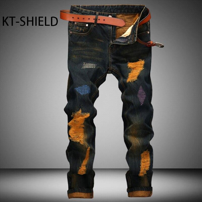 ФОТО jeans pants men skinny ripped Distressed Biker fashion Cotton full length Hip hop Casual man trousers Pantalones Hombre Vaqueros