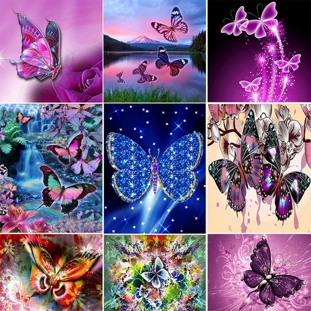 5D Animals Colorful Butterflies images Diamond painting cross stitch ...