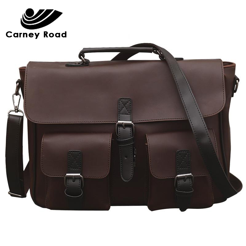 Carney Road Brand Vintage Men Split Leather Handbag Men Business Briefcase Crazy Horse Leather Shoulder Bags For 14 Inch Laptop