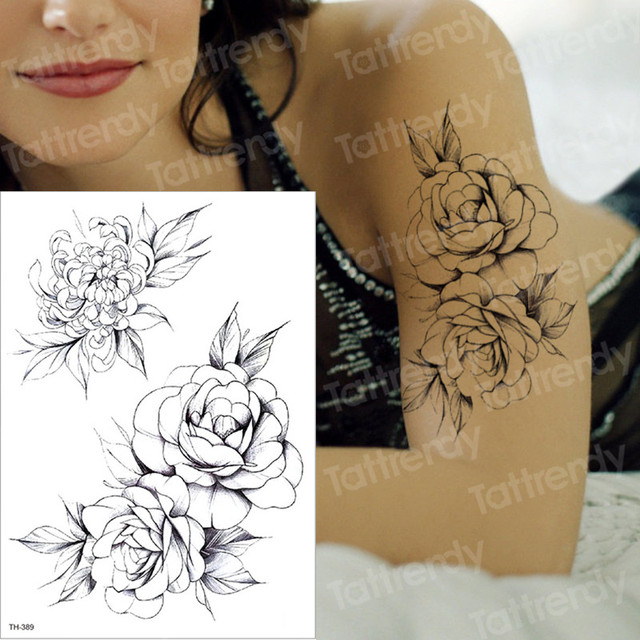temporary tattoo black flower tattoo sleeves water transfer tatoo sticker peony rose tattoos body art sexy tatoo girl arm tatto 3