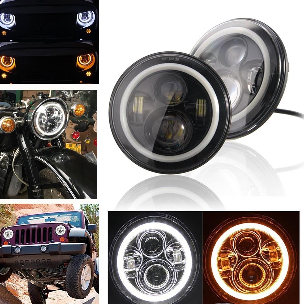 2pcs Auto Wrangler JK 7inch Halo Car Accessories 7 Angel Eyes H4 Led Headlight For Lada