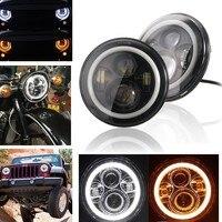 2pcs Auto Wrangler JK 7inch Halo Car Accessories 7 Angel Eyes H4 Led Headlight For Lada Niva 4X4 Uaz Hunter Jeep