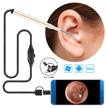 3.9MM Child Ear Otoscope 3 in 1 Ear Cleaning Endoscope Ear Scope Inspection Camera with 6 Adjustable LEDs For PC USB C Android