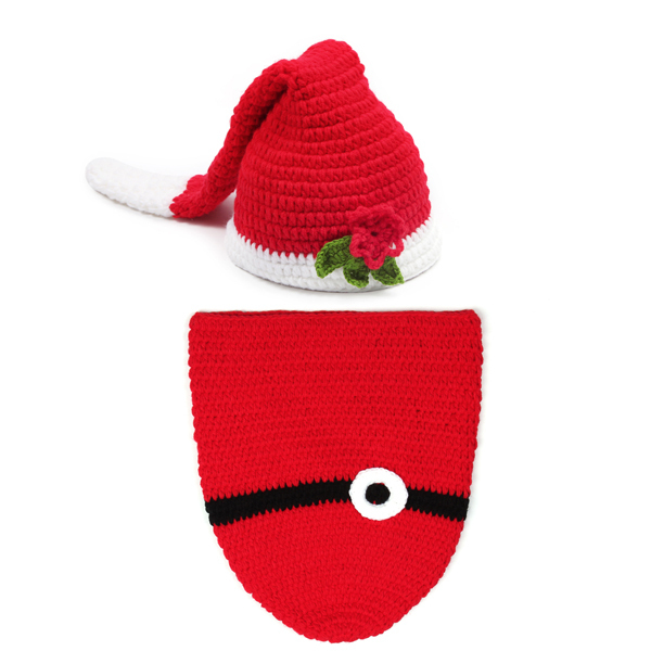 Handmade Christmas Baby Cocoon   Long Stocking ELF Beanie Hat Infant Santa  Photo Props Toddler Crochet Costume Set 1set H009 d065c9085820