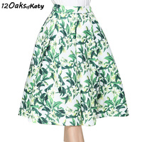 12 OAKS OF KATY Europe And America Women Fashion Fresh Gardenia Flower Print Puff Skirt With