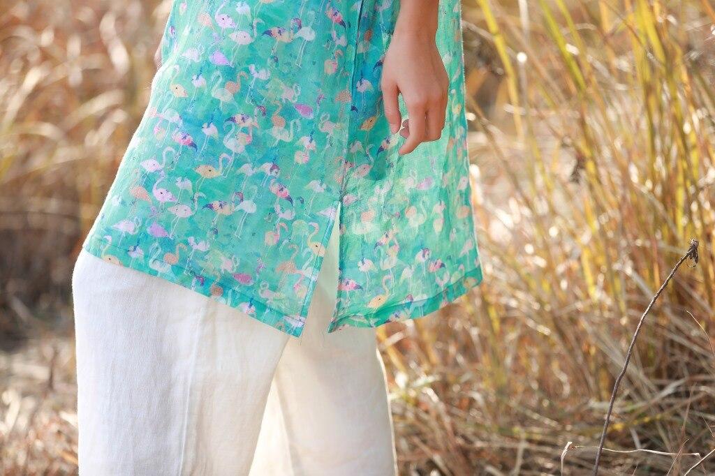 オリジナル文学女性のラミープリントレトロ O ネックロングルーズ大サイズドレスグリーン  グループ上の レディース衣服 からの ドレス の中 3