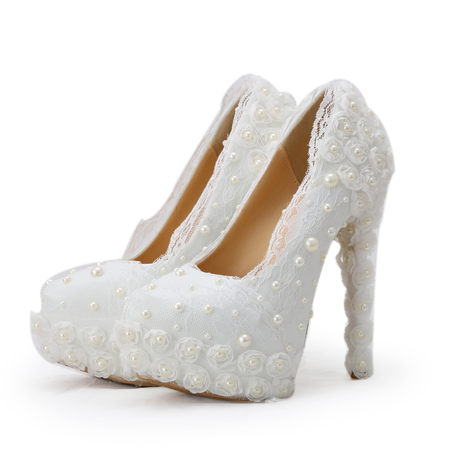 6455c4cdc White Lace Flower Wedding Shoes Pearl Beaded Super High Heel with Platform  Women Pumps Round Toe for Party Bridesmaid Bridal