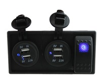 DC12V 24V Two 3 1A Dual USB Charger With Rocker Switch Holder Housing Kit For Car