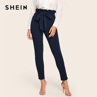 SHEIN элегантные бумажные сумки с поясом на талии, однотонные брюки с высокой талией, женские обтягивающие брюки с оборкой и эластичной резинк...
