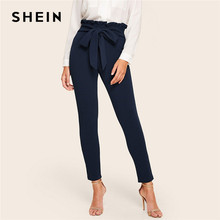 SHEIN Elegant Paperbag Waist Belted Detail Solid High Waist Pants Women Skinny Frill Trim Elastic Waist Spring Summer Pants