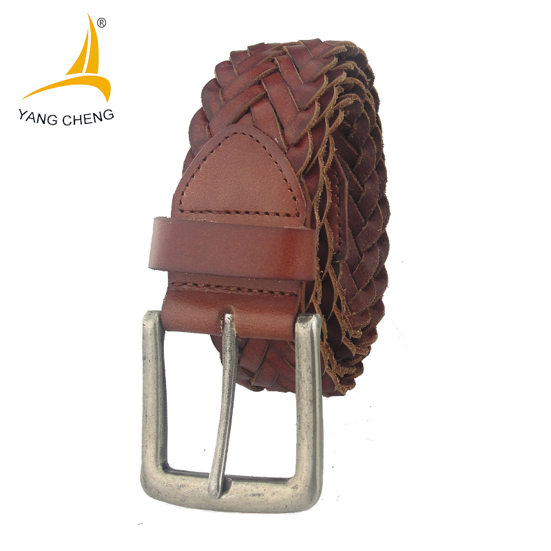 [CNYANGCHENG]3.9cm wide brown black vintage handmade 100% cow genuine leather braid belt casual belt 2017 new high quality