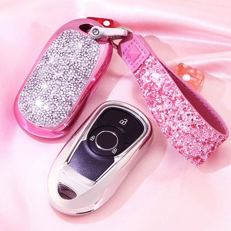 Artificial Crystal key case cover Key case protective shell holder for for OPEL Astra Buick ENCORE ENVISION NEW LACROSS Girl-in Key Case for Car from Automobiles & Motorcycles