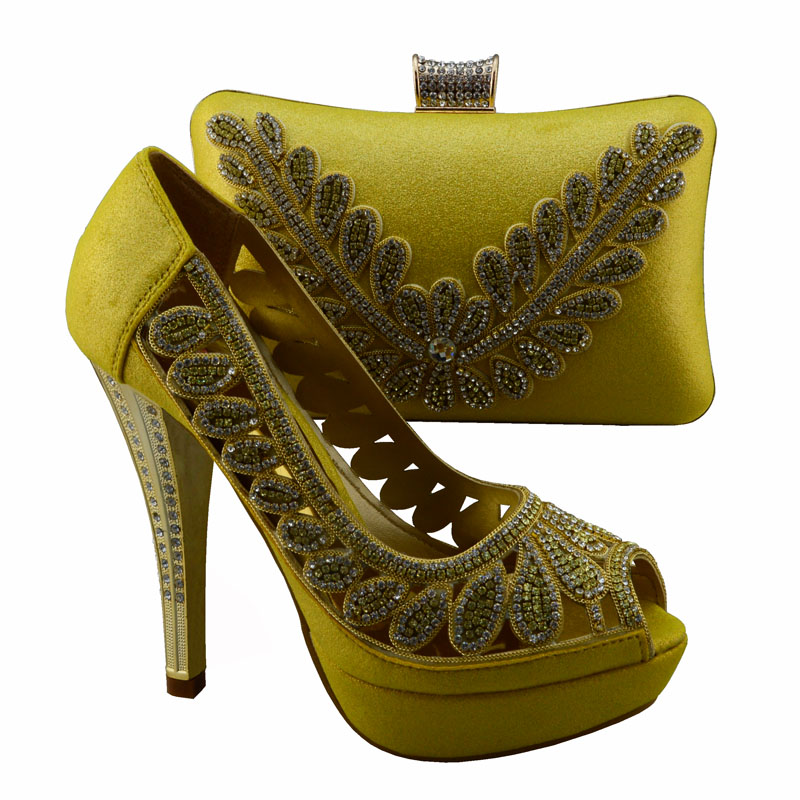 1308 L71 Yellow Shoes with peep toe talian shoes with matching bags set new fashion stones