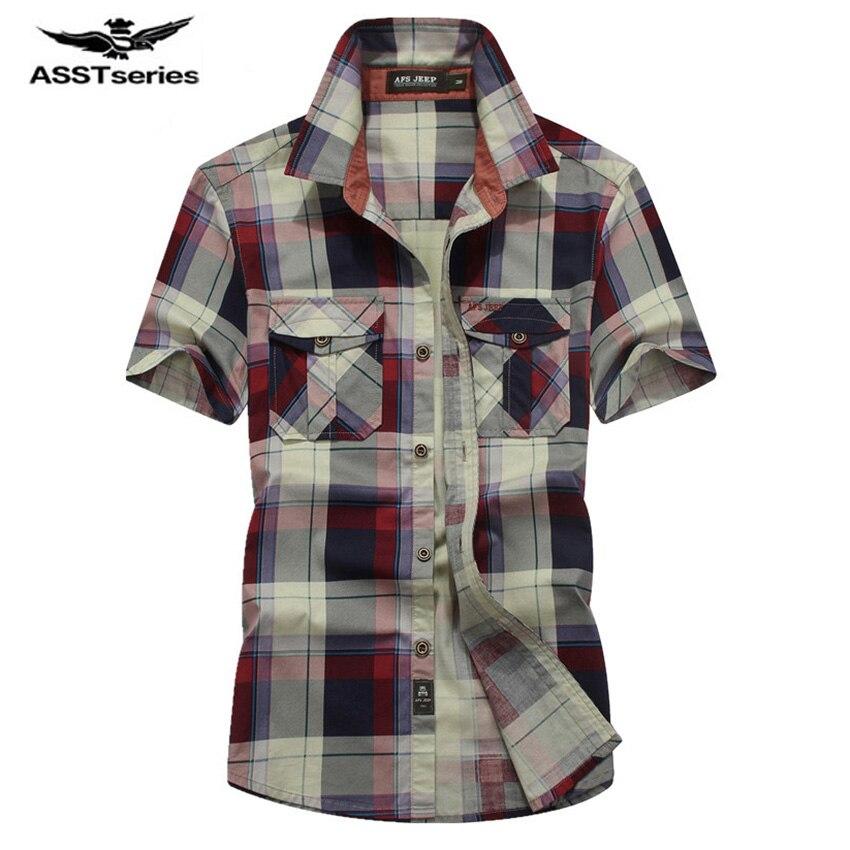 New Men Shirts AFS JEEP Brand Casual Cotton Shirt Short Sleeve Shirt Young Man Loose Summer Plaid Plus Size Shirt D56