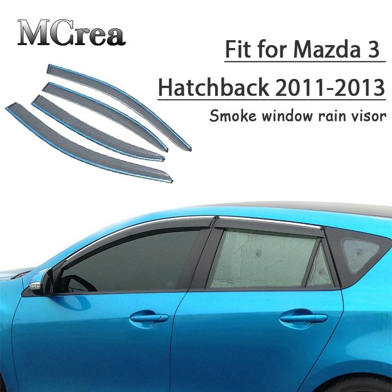 MCrea 4pcs Car Styling Smoke Window Sun Rain Visor Deflectors Guard For Mazda 3 Hatchback 2011
