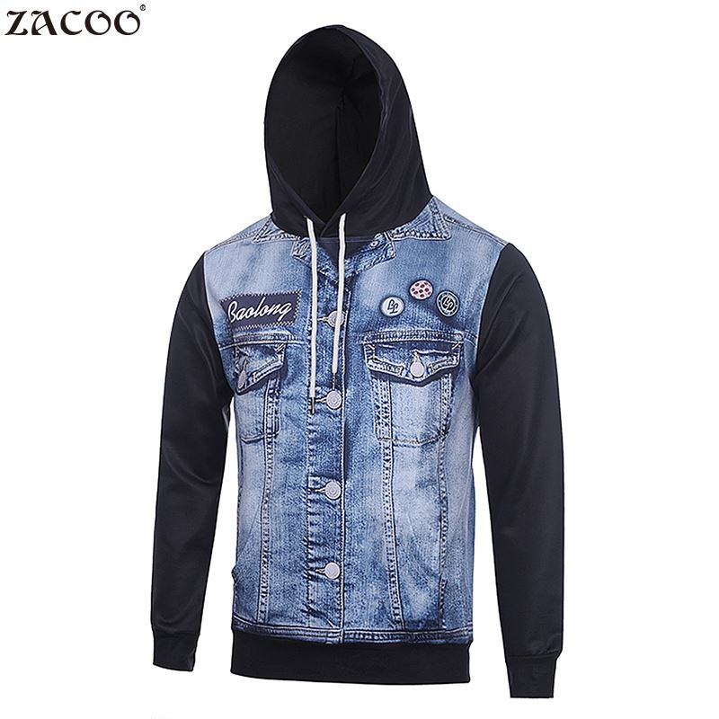 ZACOO Hoody 2017 Men 3D Denim Jacket Printed Long Sleeve Casual Hooded Pullover Sweatshirt Blue Fashion Style