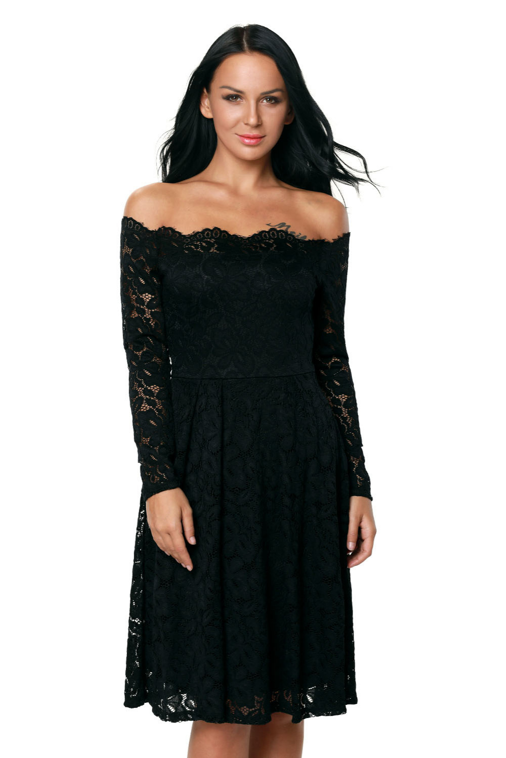 Modern dress casual - New Lady Women S Sexy Club Simple Modern Clubwear Party Casual Mini Long Sleeve Floral Lace Boat Neck Cocktail Swing Dress 61427