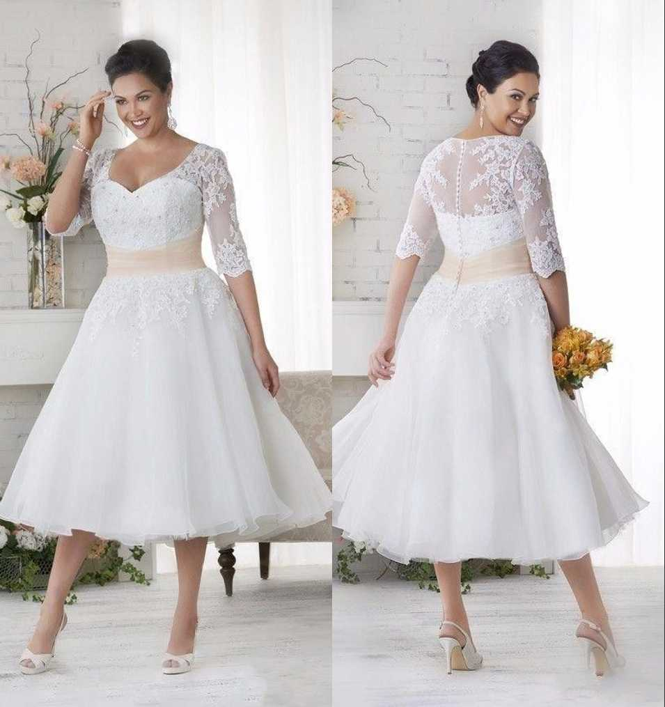Short Vintage Tea Length Plus Size Modest Wedding Dresses With 3/4 Sleeves  A-line Beaded Appliques Informal Modest Bridal Gowns
