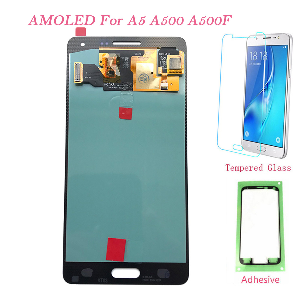 AMOLED <font><b>LCD</b></font> Screen For <font><b>Samsung</b></font> Galaxy A5 2015 A500FU <font><b>A500</b></font> A500F A500M Touch Screen Digitizer <font><b>LCD</b></font> Display For <font><b>Samsung</b></font> A5 <font><b>A500</b></font> <font><b>LCD</b></font> image