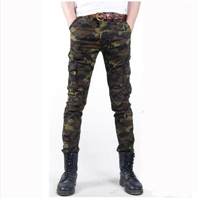 Moda skinny Casual Camuflagem Militar calças dos homens fina Men Slim primavera verão Macacão de Camuflagem Do Exército calças Lápis Magras