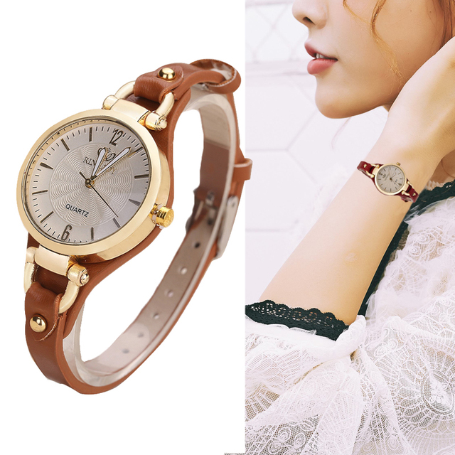 Thin Leather Casual Luxury Woman Watch Gold Dial Ladies Quartz Watch 1
