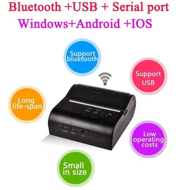 Портативный 80 мм Bluetooth 2.0 Andriod IOS мини беспроводная связь Bluetooth квитанция пос