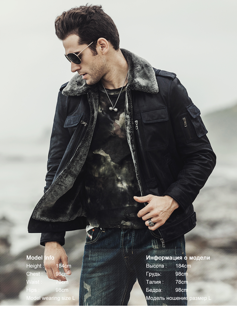 FLAVOR 2017 new winter Motorcycle genuine leather jacket pigskin jacket with faux fur shearling Real Leather Jacket