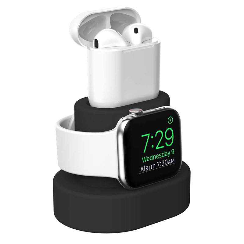 Fivetech 2 In 1 Silicone Holder For Apple Watch /Airpods Charging Stand For Apple Watch Series 4/3/2/1 Small Holder For Airpods