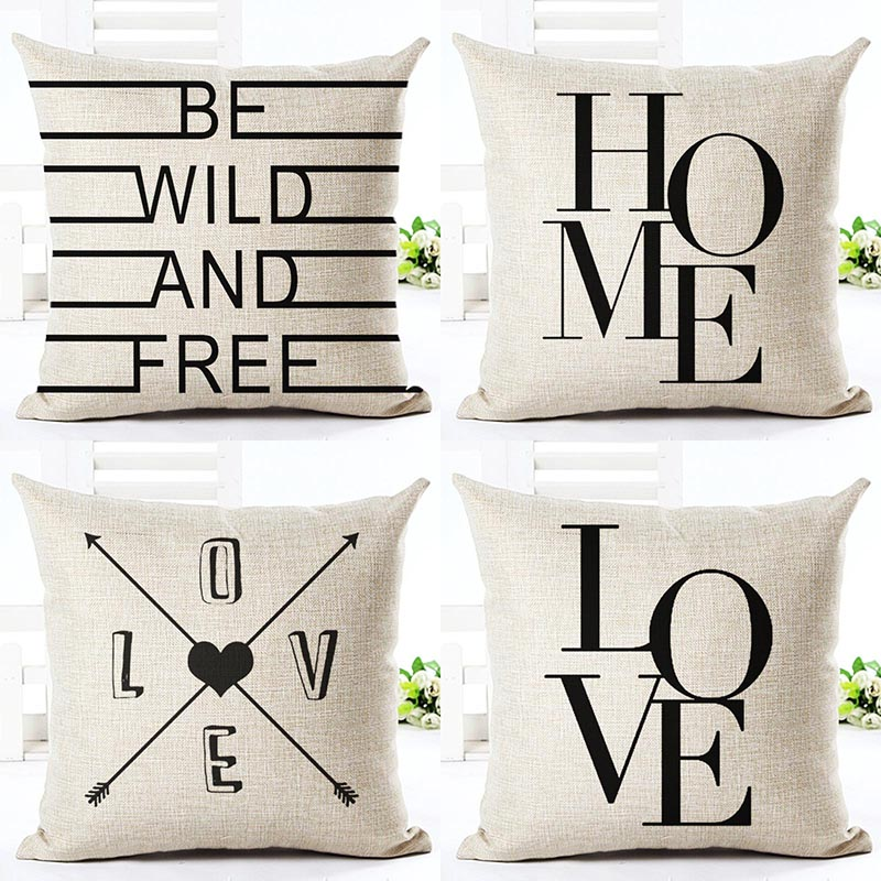 Cushion: Black And White Style Decorative Cushions Simple Word Style Printed Throw Pillows Car Home Decor Cushion Decor Almofadas Cojines