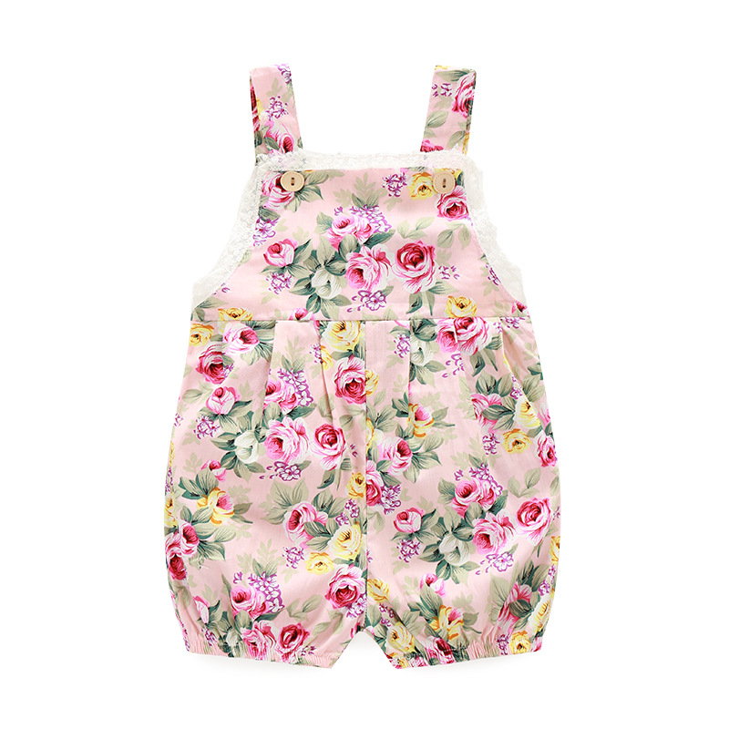 Sweet Babys Floral Print Rompers Toddle Kids Lace Suspender Rompers Cotton Fabric Cute Babys Clothes Free Shipping