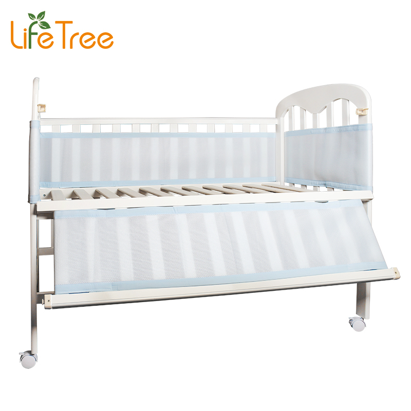 LifeTree Breathable Mesh Crib Bumpers Baby Bedding 3 Layer Crib Liner Cot Bed Around Crib Netting