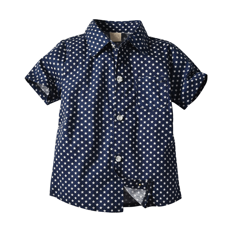Toddler Boy Clothes Set Navy Stars Shirt Tops + White Shorts with Belt Fashion Clothing Set for Baby Boy Short Suit 3