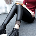 2016 Winter Leggings Women Korean Plus Thick Velvet Pencil Pants Slim Plus Size Imitation Leather Pants Female Trousers Warm