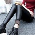 2016 de Inverno Leggings Mulheres Coreanas Mais Grossa de Veludo Calças Lápis Slim Plus Size Imitação Calças De Couro Feminino Calças Quentes