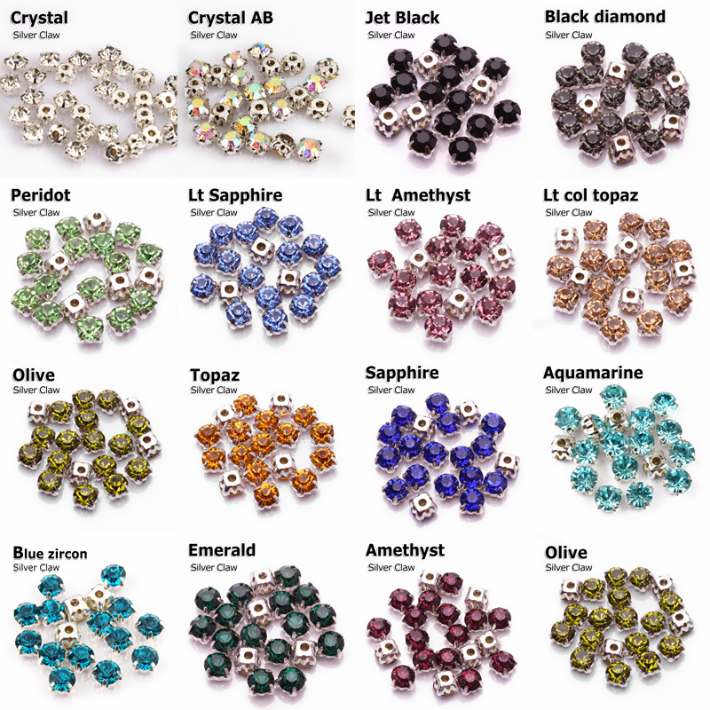 500pcs X SS28 6 mm AAA Clair Argent Coudre Sur Strass Strass Verre Cristal