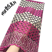 WorthSJLH 2019 Latest African Lace Fabric Swiss White Fushia Pink Mesh French Tulle For Evening Dresses