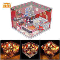 Cuteroom DIY Wooden Miniature DollHouse Christmas Furniture Toy Miniatura Puzzle Model Handmade Dollhouse Birthday Gift For Kids