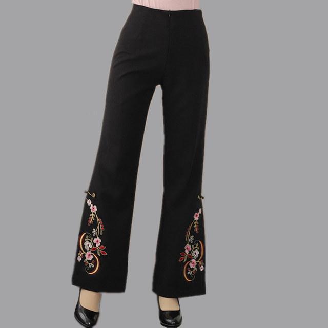 Venda quente do estilo chinês calças mulheres primavera outono calças ml XL XXL XXXL 4XL 2513 - 1