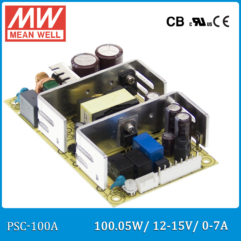 цены Original Meanwell PSC-100A 100W 12~15V 0~7A security power supply battery charger(UPS function) PCB type