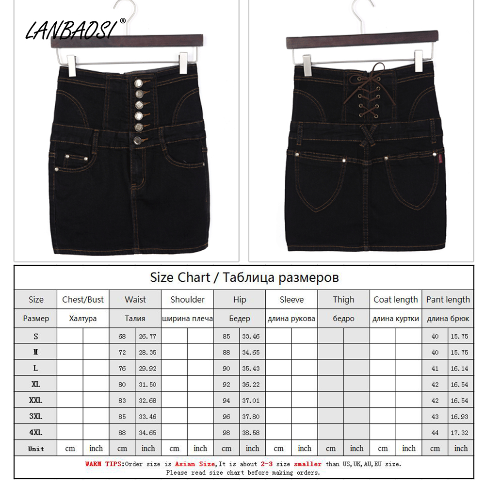 31aaf9403b LANBAOSI Black Denim Skirt for Women Package Hip Jeans Skirt High Waist  Cowboy Skirts Female Girl Sexy Casual Mini Short faldas-in Skirts from  Women's ...