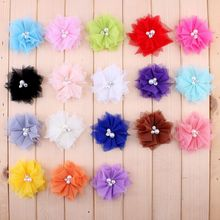 120 unids/lote 6,5 cm 18 colores DIY suave malla chic flores de pelo con diamantes de imitación + perlas artificiales flores de tela para niños diademas