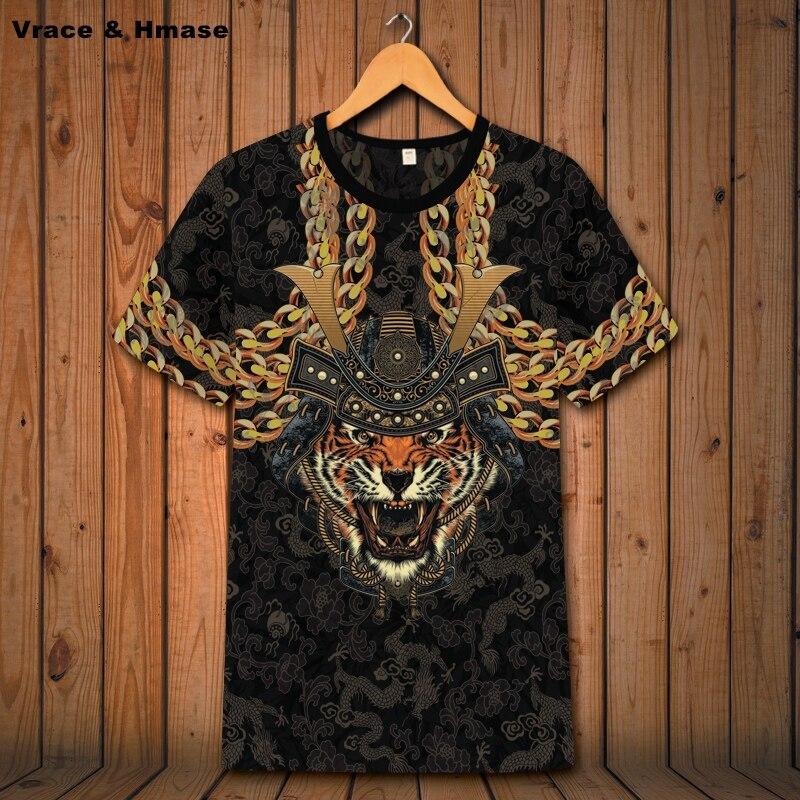 Camisa de Manga Curta de Impressão de Cabeça de Tigre Respirável de Alta Dominadora Verão Nova Qualidade t Camisa Masculina 2020 Oco