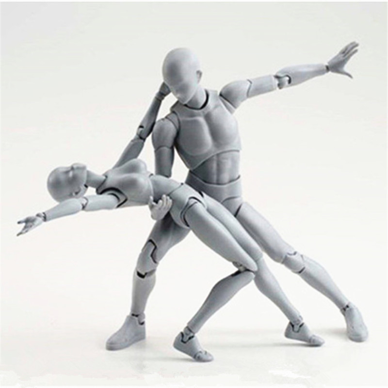 [PCMOS] Body-Kun DX & Body-Chan DX Grey Color Version  Action Figure 2pcs Set PVC Art Collection New In Box G089 shfiguarts pvc body kun body chan body chan body kun grey color ver black action figure collectible model toy