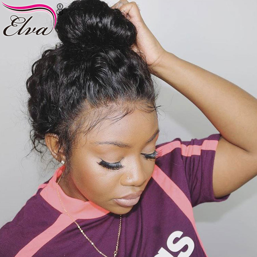 Elva Hair Full Lace Human Hair Wigs For Black Women Brazilian Remy Hair 150 Density Curly Lace Wigs With Baby Hair Pre Plucked(China)