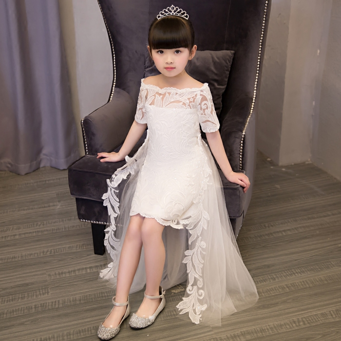 2019 Elegant childrens girl New lace dresses with tail christening Host ball gowns kids princess wedding birthday party dress 2019 Elegant childrens girl New lace dresses with tail christening Host ball gowns kids princess wedding birthday party dress