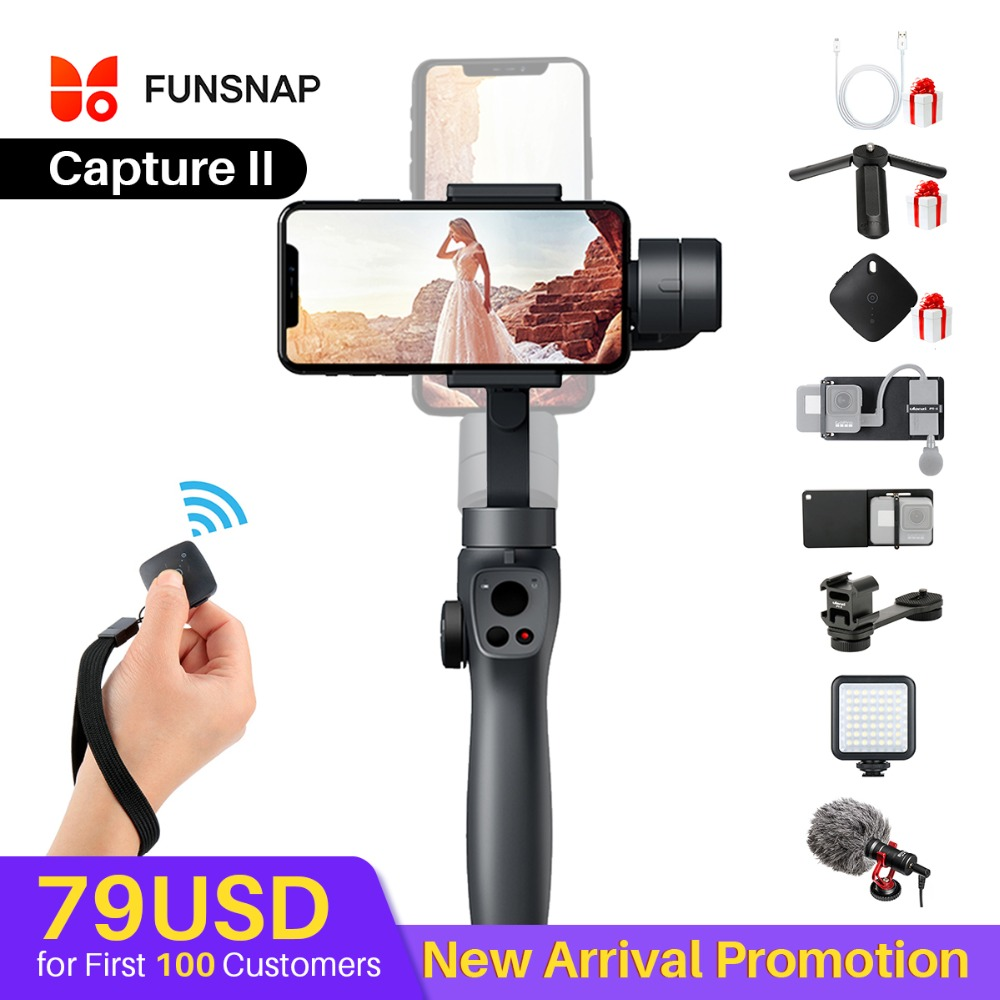 Funsnap Caputure 2 Smartphone 3 Axis Gimba Action Camera Gimbal for IOS Andriod Gopro 7 6