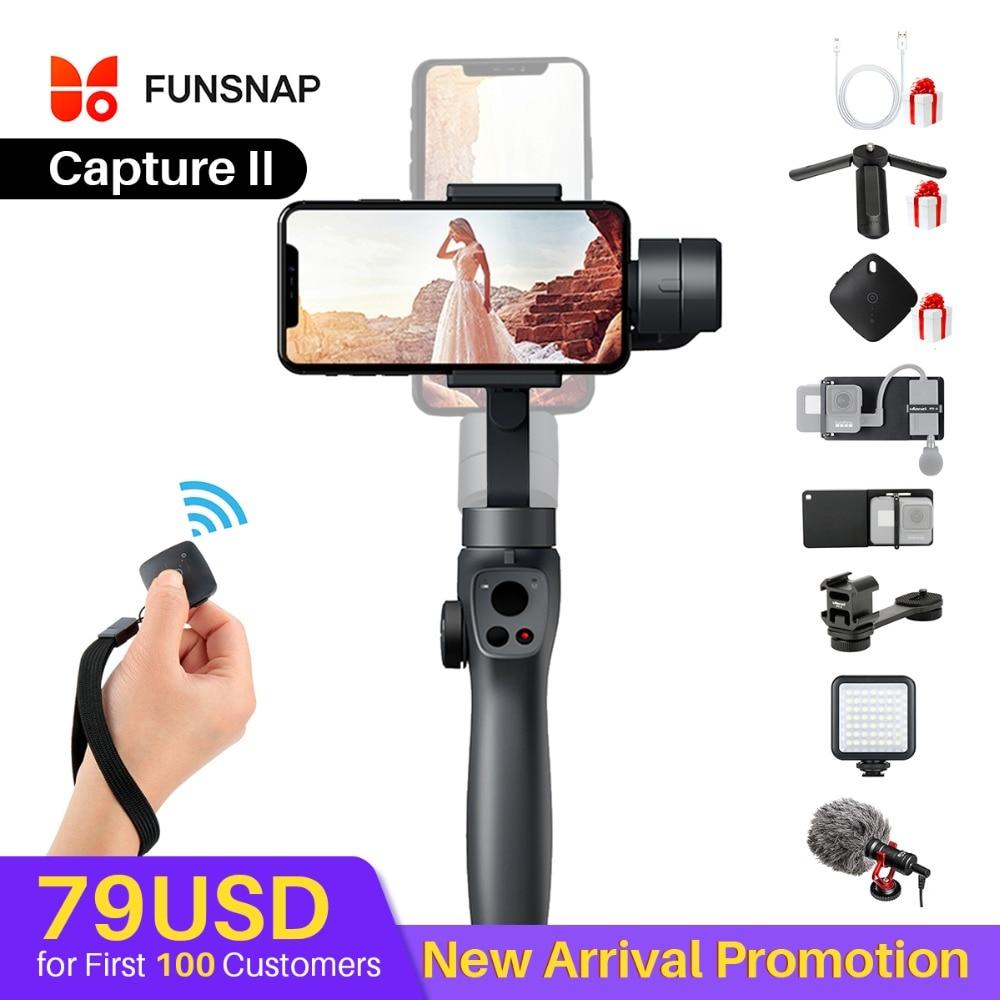 Funsnap Caputure 2 Smartphone 3 axes Gimba Action caméra cardan pour IOS android Gopro 7 6 5 EKEN Yi Kit de cardan avec micro à LED